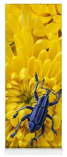 Blue Bug On Yellow Mum Yoga Mat