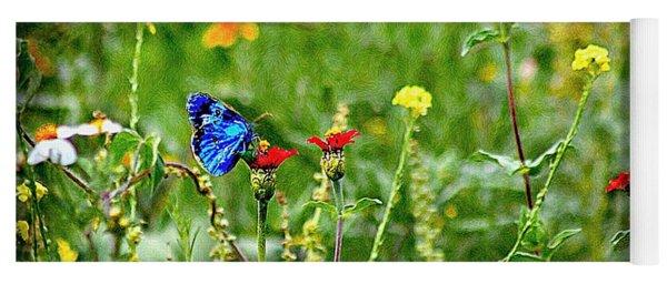 Blue Butterfly In Meadow Yoga Mat