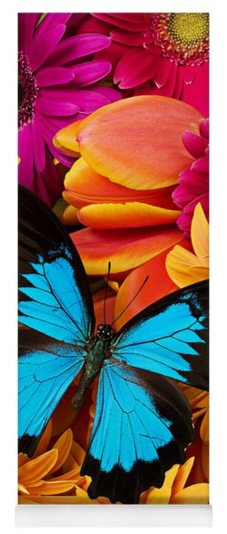 Blue Butterfly On Brightly Colored Flowers Yoga Mat