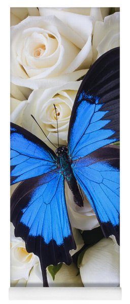 Blue Butterfly On White Roses Yoga Mat