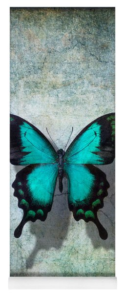 Blue Butterfly Resting Yoga Mat