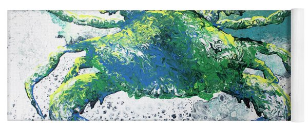 Yoga Mat featuring the painting Blue Crab Abstract by William Love