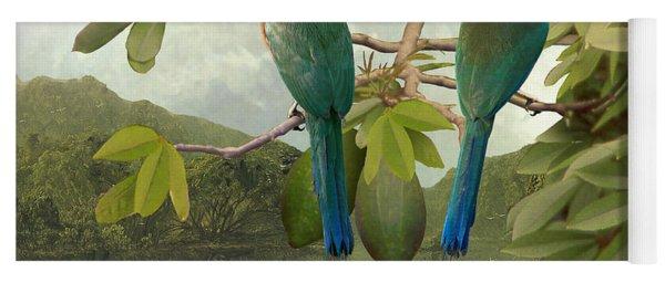 Blue-crowned Motmots In Kapok Tree Yoga Mat