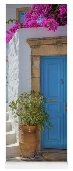 Blue Door And Stairs Yoga Mat