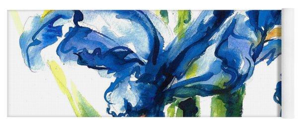 Blue Dutch Iris Flower Painting Yoga Mat