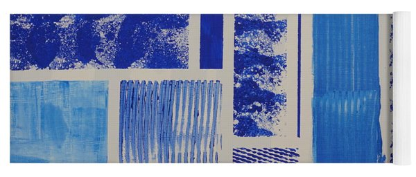Yoga Mat featuring the painting Blue Expo by Jimmy Clark