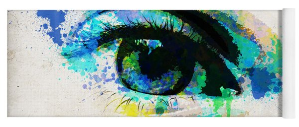 Blue Eye Watercolor Yoga Mat