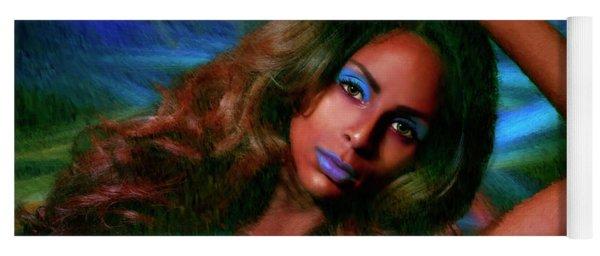 Blue Eyeshadow Beauty Yoga Mat