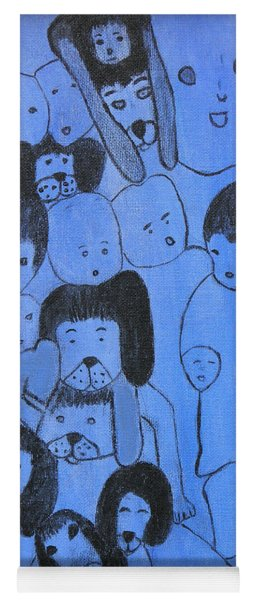 Blue Faces Yoga Mat