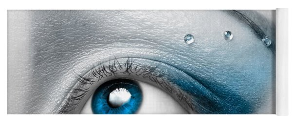 Blue Female Eye Macro With Artistic Make-up Yoga Mat