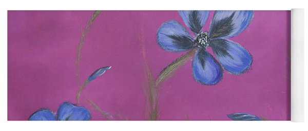Blue Flower Magenta Background Yoga Mat