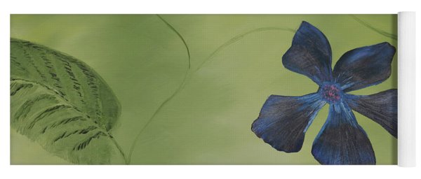 Blue Flower On A Vine Yoga Mat