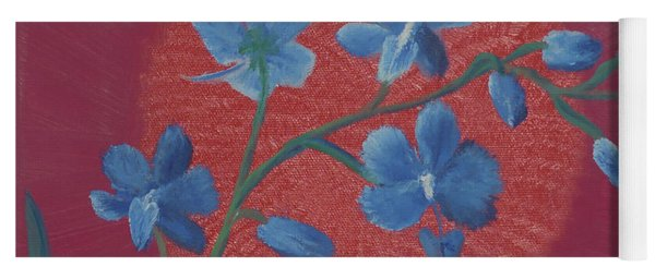 Blue Flower On Magenta Yoga Mat