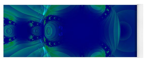 Blue Green Globe Luminant Fractal Yoga Mat