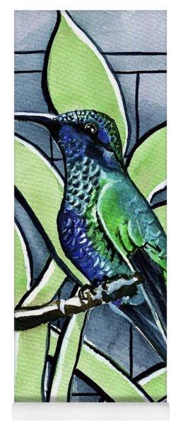 Blue Green Hummingbird Yoga Mat