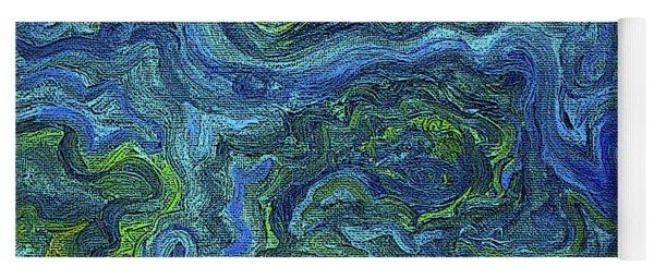 Blue Green Texture Yoga Mat