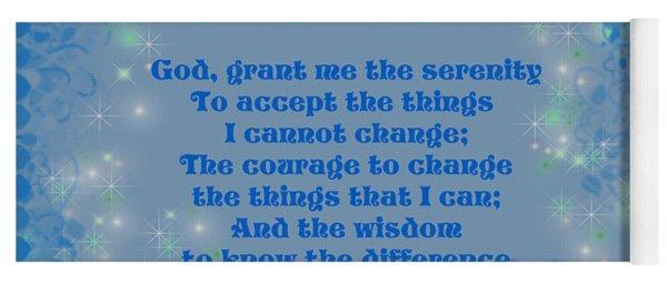 Blue Hearts Serenity Prayer Yoga Mat