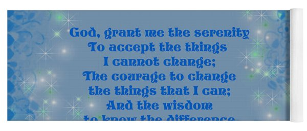 Blue Hearts Serenity Prayer Yoga Mat