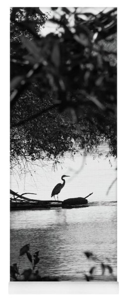 Blue Heron In Black And White. Yoga Mat