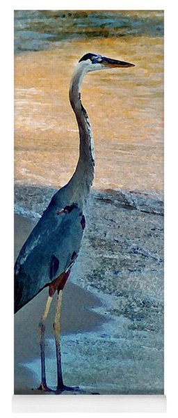 Blue Heron On The Beach Close Up Yoga Mat