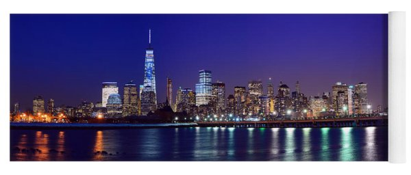 Blue Hour Panorama New York World Trade Center With Freedom Tower From Liberty State Park Yoga Mat