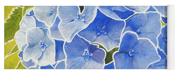 Blue Hydrangea Stained Glass Look Yoga Mat