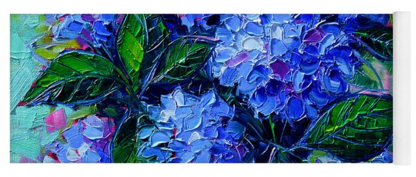 Blue Hydrangeas - Abstract Floral Composition Yoga Mat