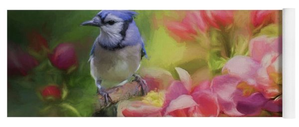 Blue Jay On A Blooming Tree Yoga Mat