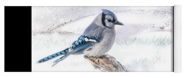Yoga Mat featuring the photograph Blue Jay Snow by Patti Deters