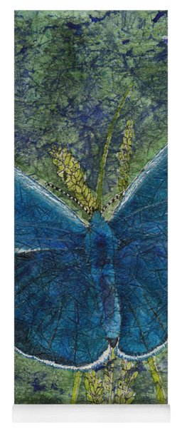Blue Karner Butterfly Watercolor Batik Yoga Mat