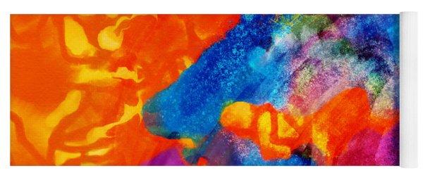 Yoga Mat featuring the digital art Blue On Orange by Antonio Romero