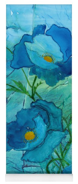Blue Poppies, Watercolor On Yupo Yoga Mat
