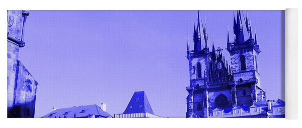 Yoga Mat featuring the photograph Blue Praha by Michelle Dallocchio