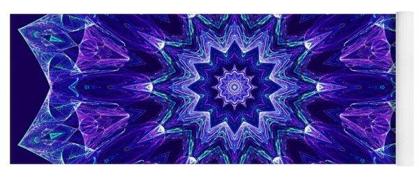 Blue And Purple Mandala Fractal Yoga Mat