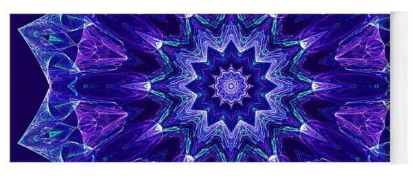 Blue And Purple Mandala Fractal Yoga Mat