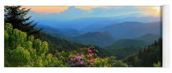 Blue Ridge Parkway And Rhododendron  Yoga Mat