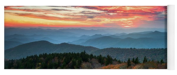 Blue Ridge Parkway Autumn Sunset Scenic Landscape Asheville Nc Yoga Mat