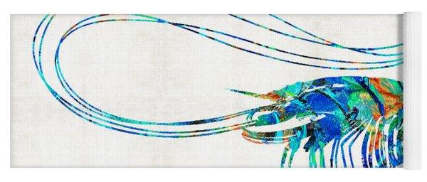Blue Shrimp Art By Sharon Cummings Yoga Mat