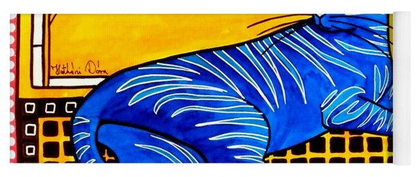 Blue Tabby - Cat Art By Dora Hathazi Mendes Yoga Mat