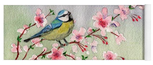Blue Tit Bird On Cherry Blossom Tree Yoga Mat