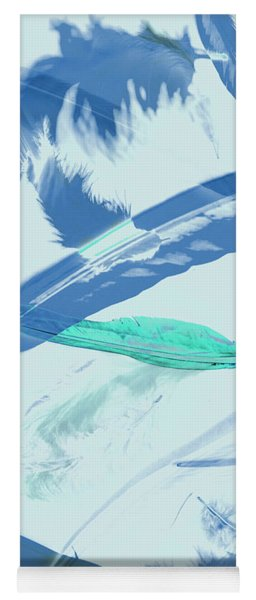 Blue Toned Artistic Feather Abstract Yoga Mat