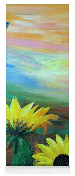 Bluebird Flying Over Sunflowers Yoga Mat