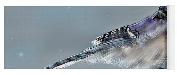 Yoga Mat featuring the digital art Winter Bluejay by Darren Cannell