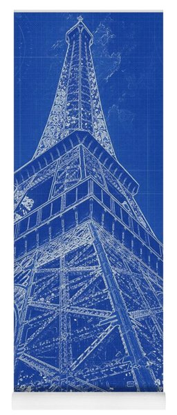 Blueprint Drawing Of Eiffel Tower In Paris Yoga Mat
