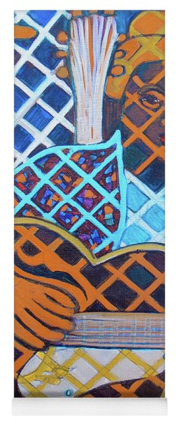 Yoga Mat featuring the painting Blues Guitar - Nine Strings by Denise Weaver Ross