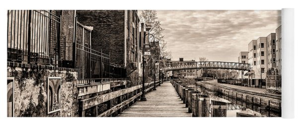 Boardwalk Along The Manayunk Canal In Sepia Yoga Mat