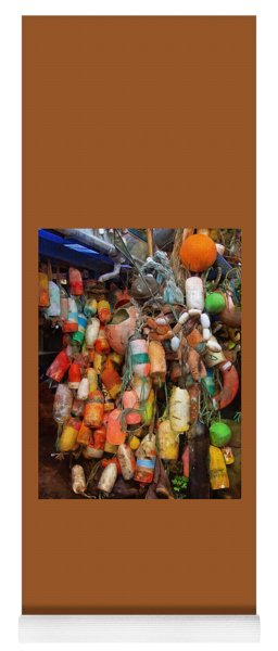 Yoga Mat featuring the photograph Crab Pot Buoys by Thom Zehrfeld