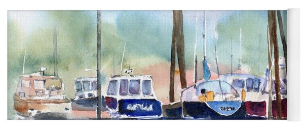 Boat Harbor In Fog Yoga Mat