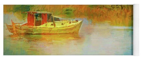 Boat In The Grasses Yoga Mat