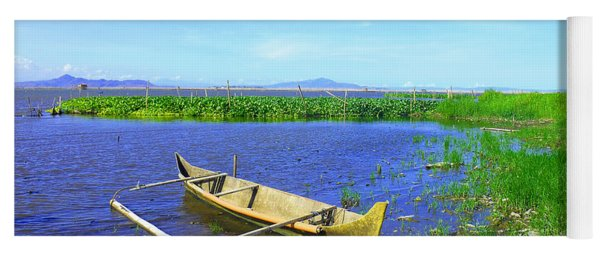 Boat On Laguna De Bay Lake Yoga Mat